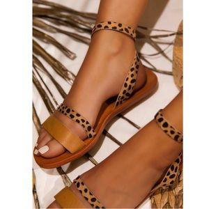 Shoes - Tan Cheetah Print Ankle Strap Flat Sandals